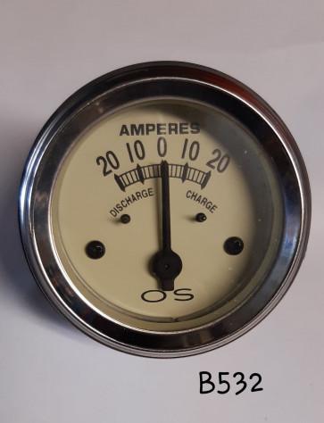 AMPEREMETRE TEMOIN CHARGE BATTERIE - fond beige - Ø 52 mm