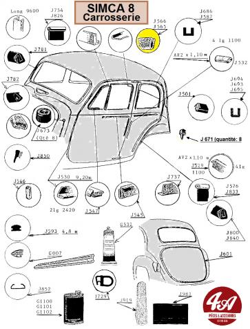 Simca 8 - Carrosserie