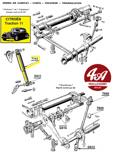 Citroën Traction 11 - Suspension direction AV
