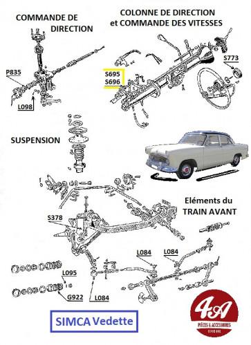 Embrayage boite de vitesses - Simca Vedette