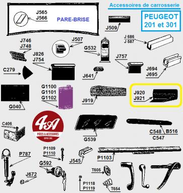 Peugeot 201 301 - Accessoires, Carrosserie
