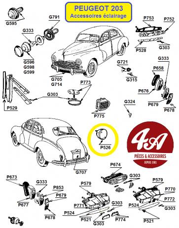 Peugeot 203 - Accessoires éclairage
