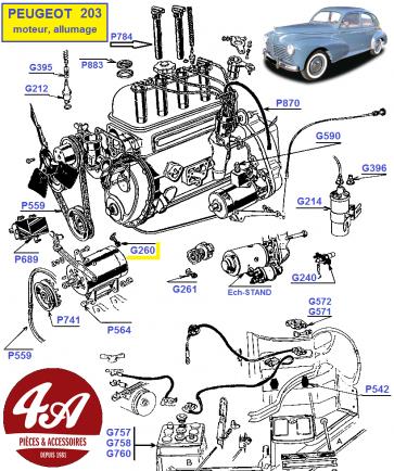 Peugeot 203 - Accessoires Moteur & Allumage