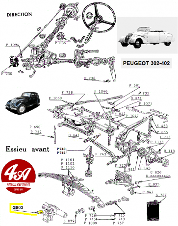 Peugeot 302-402 - Direction et essieu AV