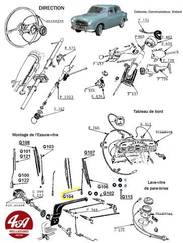 Peugeot 403 - Accessoires tableau de bord, lave-essuie glace