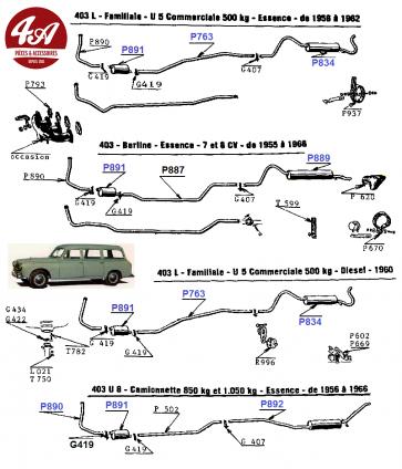 Peugeot 403 - Echappement