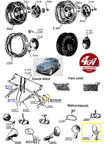 Renault 4CV - Accessoires jantes, rétros