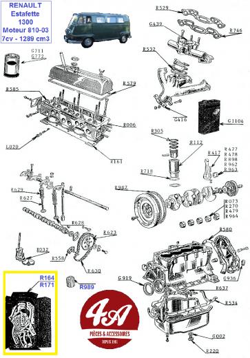 Renault Estafette 1300 R1192 - Moteur 810-03 7cv 1289cm3