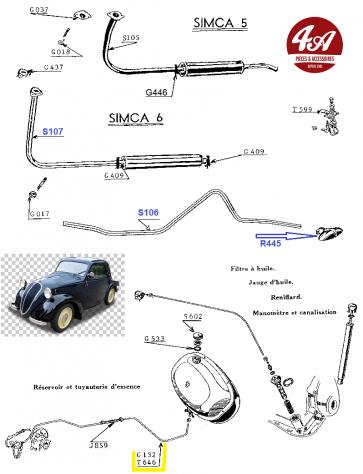 SIMCA 5 & 6 - Echappement + Durites-Tuyauterie