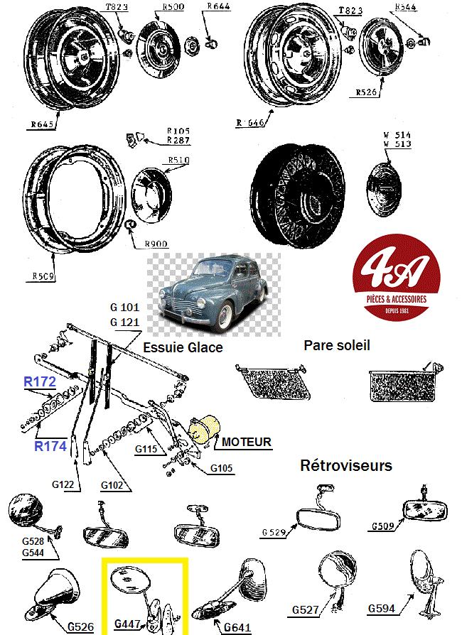 new images of cheap really cheap RETROVISEUR OVALE EXTERIEUR A PERCER, pour RENAULT 4CV, 4L ...