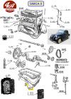 JOINT D'ETANCHEITE de BOUCHON de VIDANGE en cuivre, Ø int 22 mm, Ø ext 28 mm - SIMCA 5, 6, 8, Balilla 6cv Fiat 508...